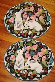 Wool Hook Rug Kits Vintage Interior With Claire Murray Finished Rabbits Latch Hook
