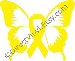 yellow awareness ribbon butterfly window decal spina bifida