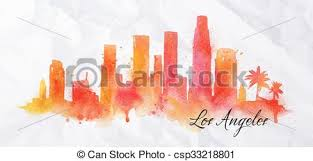 silhouette watercolor los angeles silhouette of los angeles