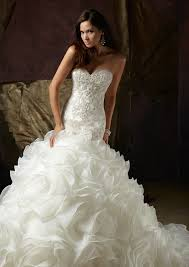 custom made wedding dress ruffled fluffy mermaid wedding dresses with pearls and sequins