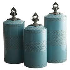 blue kitchen canister set blue kitchen canisters jars you ll love wayfair