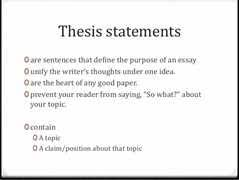 Tip  In order to write a successful thesis statement