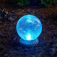 Crackle Globe Solar Lights by Crackled Glass Solar Chameleon Gazing Ball With Table Top Base