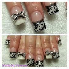 kawaii black u0026 white bows u0026 lace bling acrylic nails acrylic