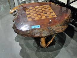 chess board coffee table burl coffee table with inlaid chess board