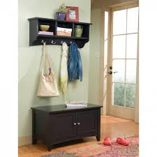 furniture dark hall tree bench with floating shelves and wooden