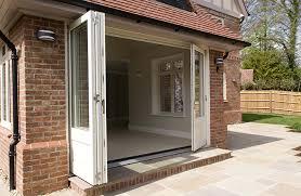 Wooden Bifold Patio Doors Timber Bifold Doors External Fully Open White By Mumford Wood