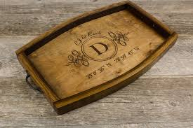 monogrammed serving platters personalized wine stave serving tray custom coordinates wedding