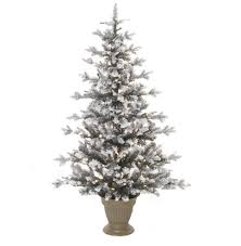 4 x 30 pre lit potted flocked pine artificial half wall