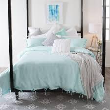aqua stone washed linen quilt cover set pillow talk master