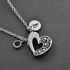 keepsake charms diy hollow out heart pet cremation jewlery pendant with birthstone