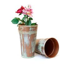 Vase French Galvanized Vase French Bucket 11 Inch Tall Antique Brown