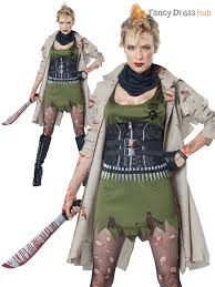 Zombie Hunter Costume Mens Damas Zombie Hunter Apocalipsis Halloween Elaborado Vestido