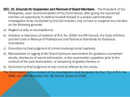 Counseling Code Of Ethics Philippines R A 9258 The Guidance And Counseling Act Of 2004