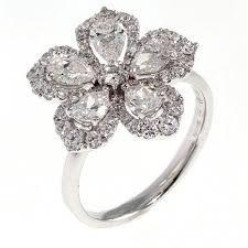 diamond flower rings images 18ct white gold 1 91ct large pear flower cluster diamond ring jpg