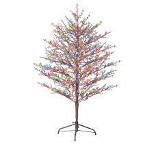 ge 5 ft pre lit winterberry brown artificial tree with
