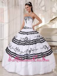 black and white quinceanera dresses white and black gown sweetheart floor length tulle embroidery