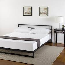 wood slat amazon com zinus ironline metal and wood platform bed with