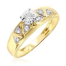 women s engagement rings 1 2 carat diamond trio wedding ring set 10k yellow gold