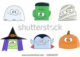 cute halloween mummy clip art halloween characters faces set ghost green stock vector 219026257