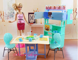 barbie dining room dining table showcase chair set pretend play dollhouse dining