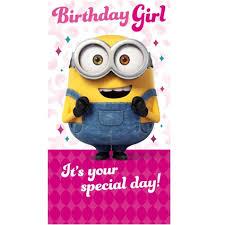 girl birthday minion birthday girl card danilo