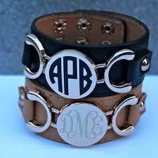 monogrammed bangle bracelet monogrammed leather cuff bracelet from whitneysmonograms on etsy