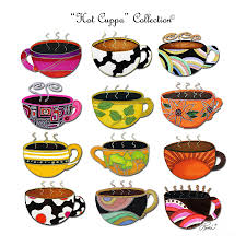cuppa whimsical colorful coffee cup designs by romi painting