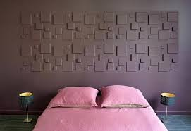 chambre mauve et violet and pink bedroom with a 3d wall used as headboard chambre