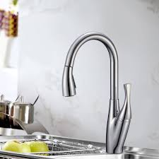 chrome finished brass kitchen faucet pull out spray head 82h24