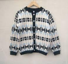 fair isle cardigan hand knit scandinavian sweater ice blue
