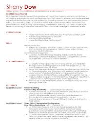 Sample Resume For Photographer Professional Videographer Templates To Showcase Your Talent