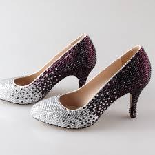wedding shoes jeweled heels handmade gradient color rhinestone sparkling pointed toe