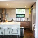 Warm Modern Kitchen - a warm and modern kitchen with just a touch of yellow kitchn