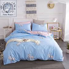 Bedding Sets For Girls Print by Amazon Com Bulutu Cotton Unicorn Print Queen Bedding Sets Blue