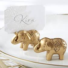 golden elephant place card holders