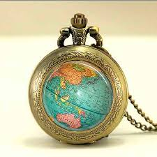silver watch chain necklace images Antique globe star wars necklace planet earth world map pocket jpg