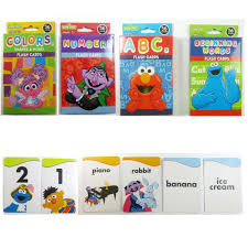 4 sesame street flash cards beginning words numbers colors shapes