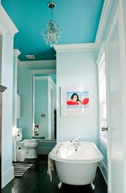 white wall color and teal ceiling for unique two colors