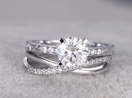 wedding ring sets his and hers white gold 2pcs moissanite wedding ring set diamond matching band white gold