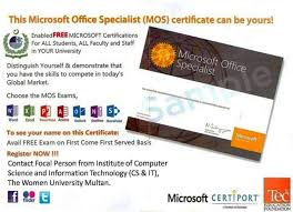 microsoft office specialist mos certification free exams