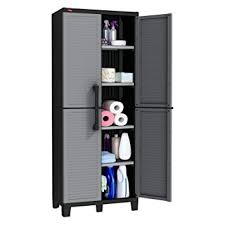 sterilite 4 shelf cabinet flat gray amazon com keter space winner tall metro storage utility cabinet