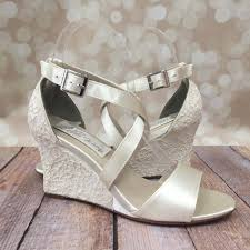 wedding shoes wedges ivory wedding shoe wedges with lace overlay ellie wren