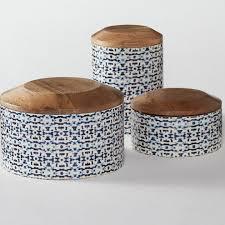 enamel kitchen canisters bungalow rose enamel coated mango wood 3 piece kitchen canister set