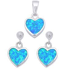 blue opal oxford diamond co blue opal heart 925 sterling silver earring