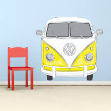 classic vw bus printed wall decal red vw bus printed wall decal yellow volkswagen bus decal