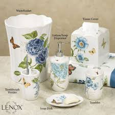 White Bathroom Accessories Set by Bathroom Amazing Lenox Blue Flower Garden Bathroom Accessories
