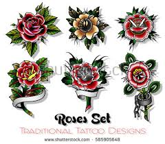vector traditional roses designs set stock vector 585905648