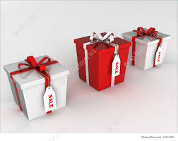 illustration of wrapped gift boxes with sale tags