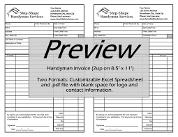 handyman invoice template download work order invoice template